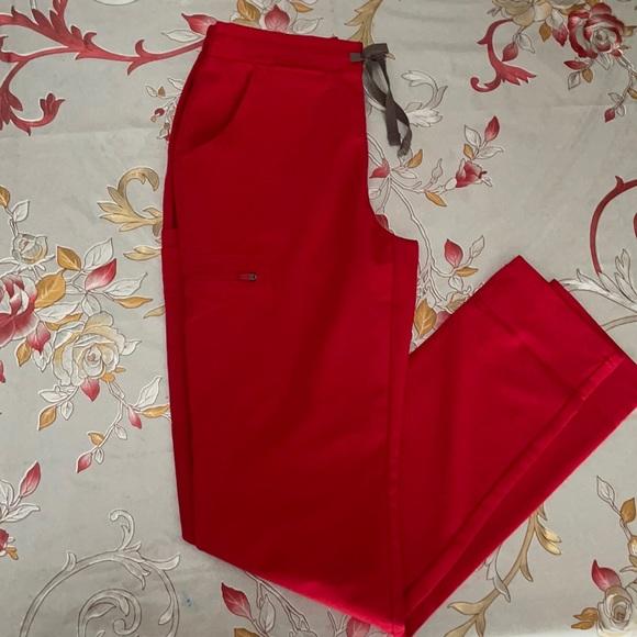 FIGS pop red yola skinny scrub pants XS TALL